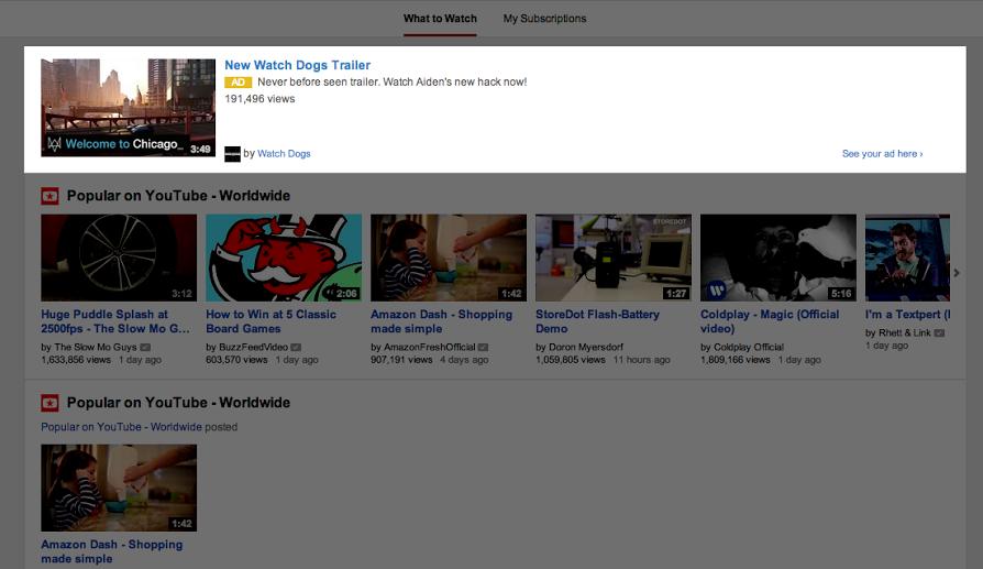 Reklama na hlavnej stránke YouTube na desktopoch