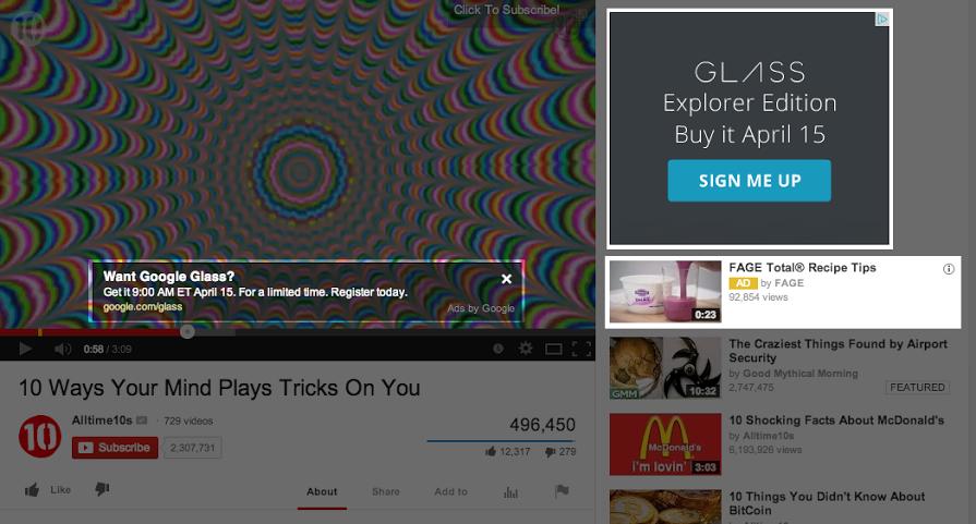 Reklama na stránke konkrétneho YouTube videa